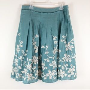 TALBOTS Embroidered LINEN Pleated A Line Skirt